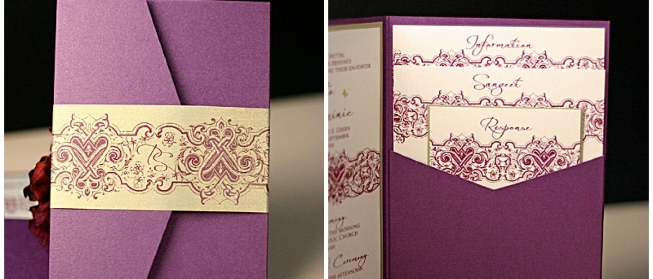 purple and gold fusion invitations