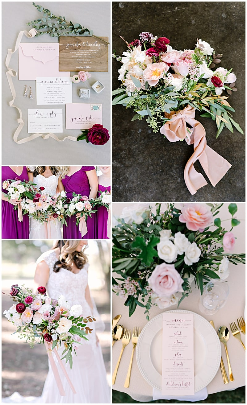 blush and burgundy wedding